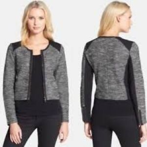 Eileen Fisher Black Grey Tweed Zip Jacket XS